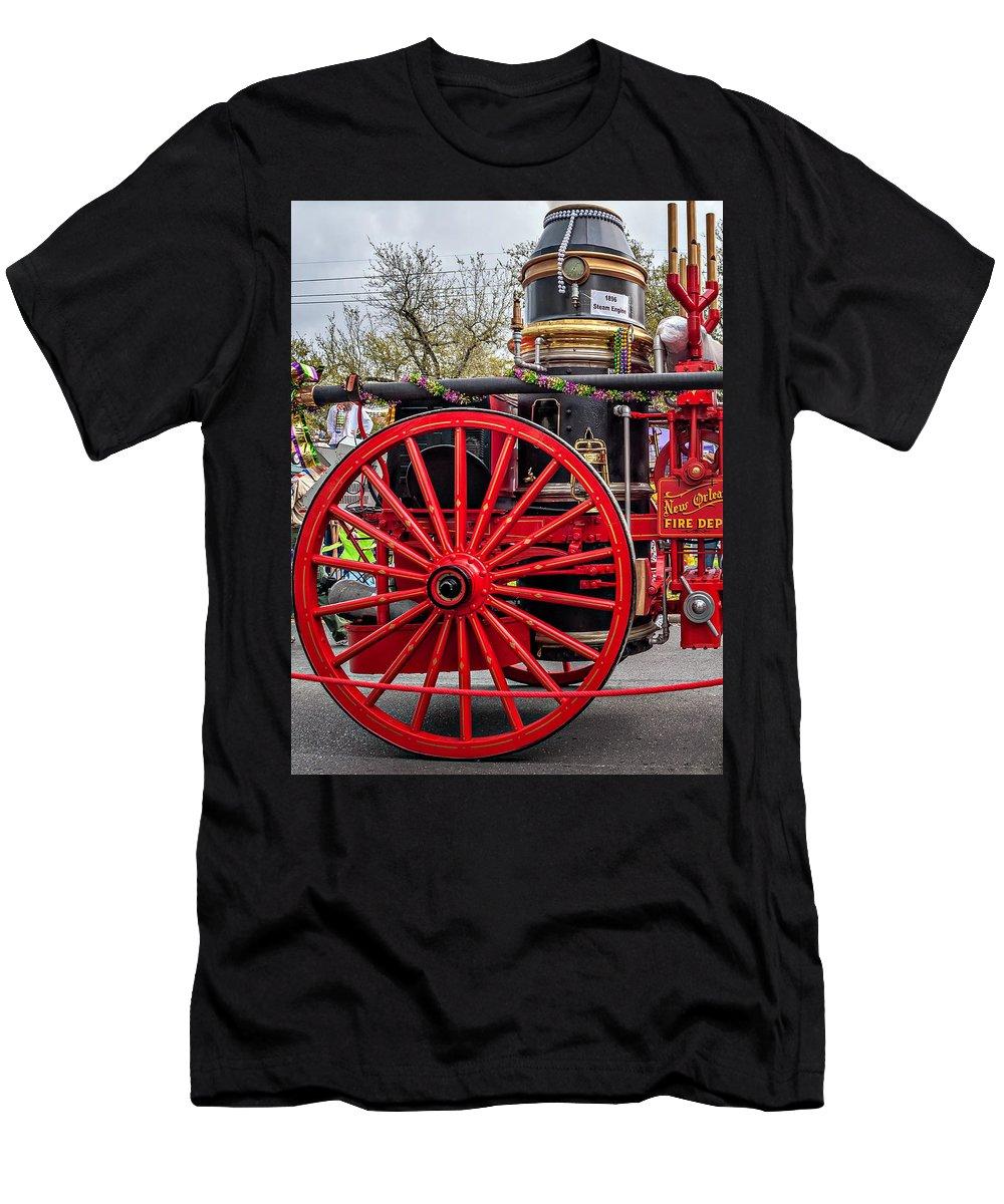 Nola Men's T-Shirt (Athletic Fit) featuring the photograph New Orleans Fire Department 1896 by Steve Harrington