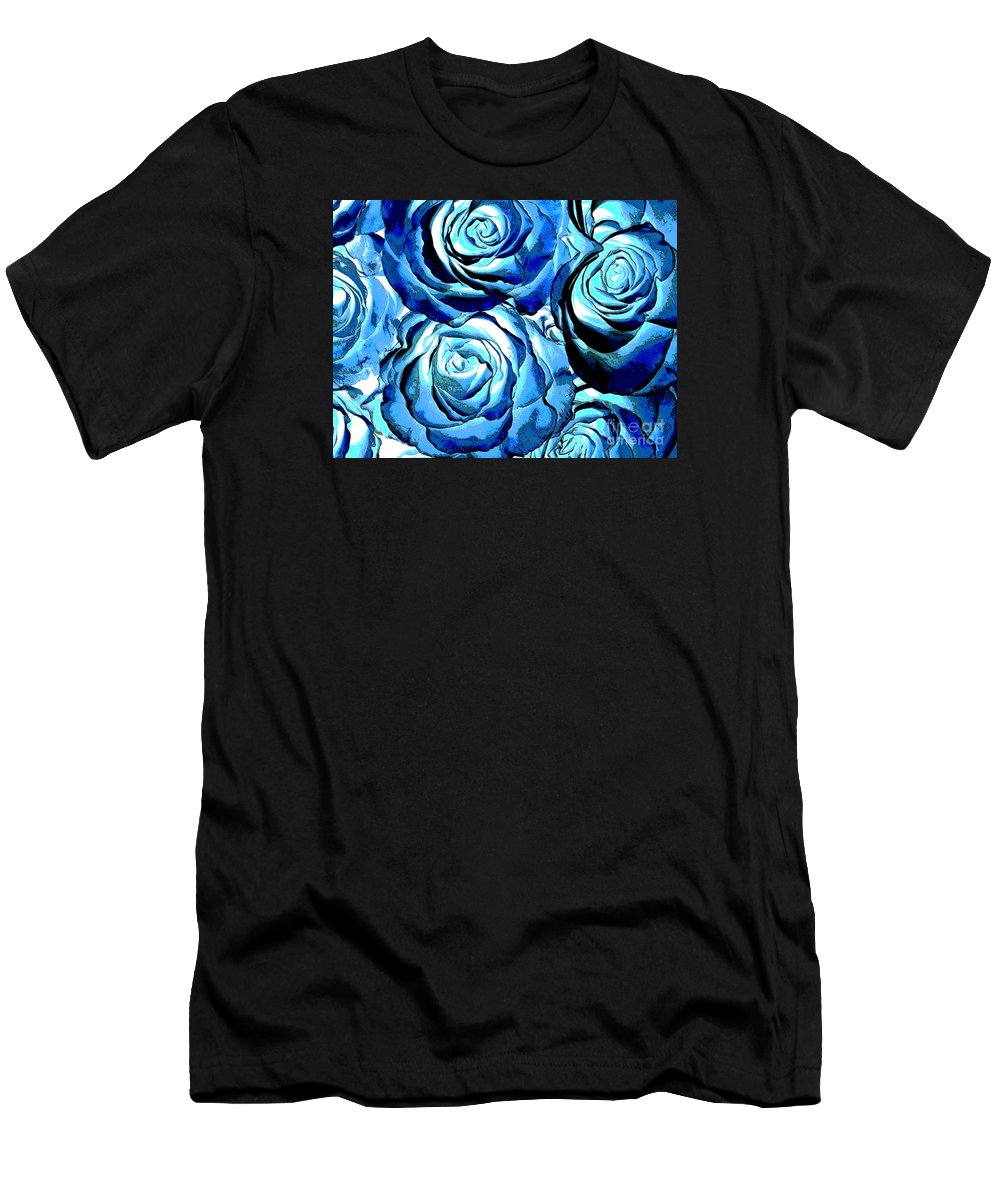 Flowers Men's T-Shirt (Athletic Fit) featuring the photograph Pop Art Blue Roses by Toula Mavridou-Messer