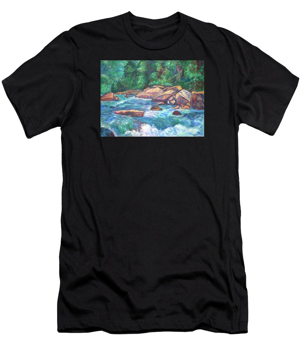 Kendall Kessler Men's T-Shirt (Athletic Fit) featuring the painting New River Fast Water by Kendall Kessler
