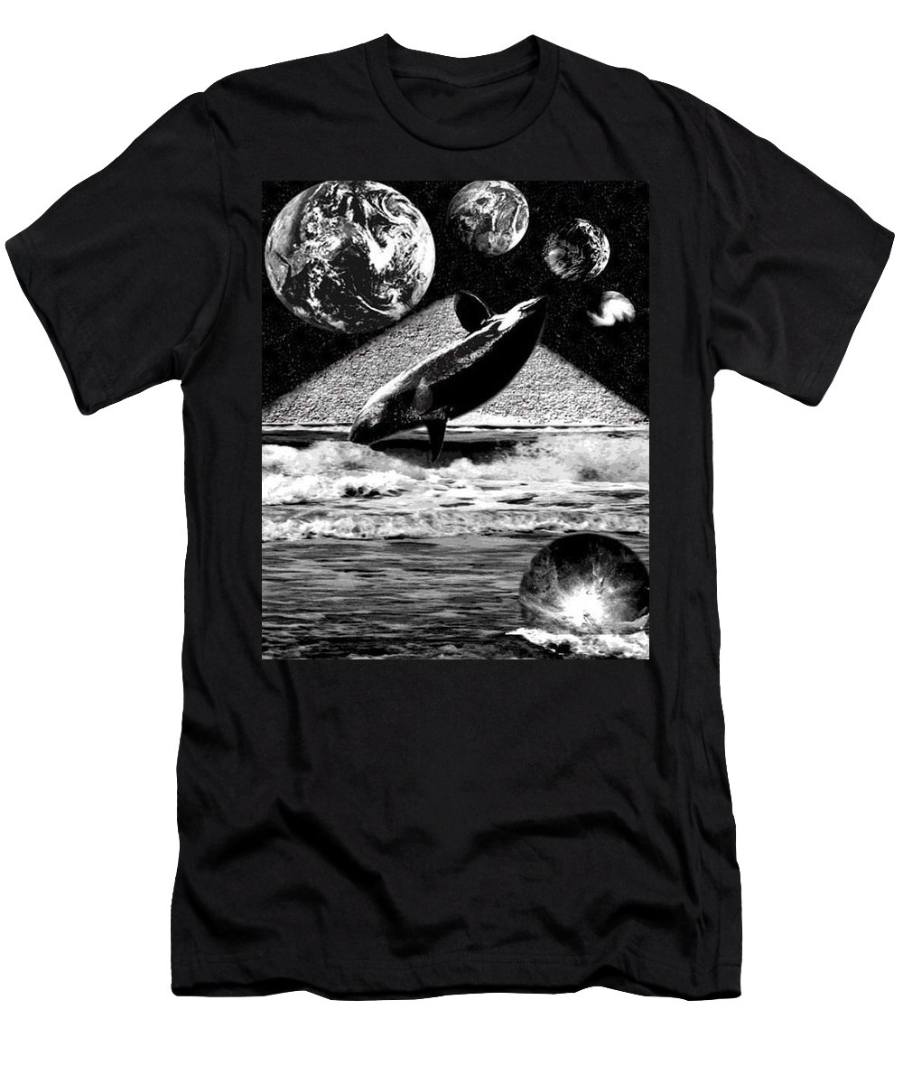 Whales Men's T-Shirt (Athletic Fit) featuring the digital art New World by Kimberlee Marvin