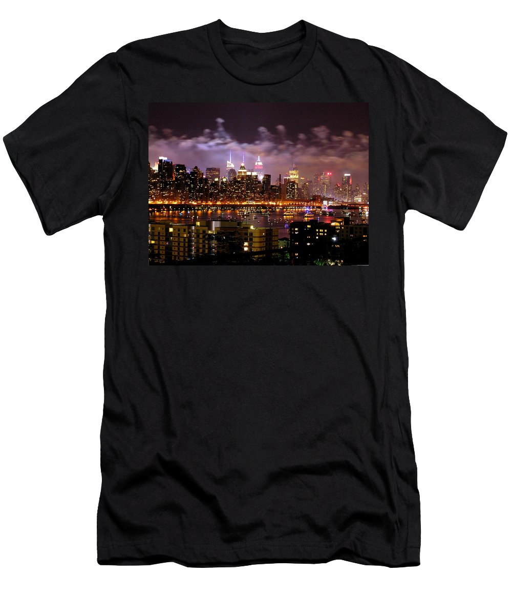 Bruce Brandli Men's T-Shirt (Athletic Fit) featuring the photograph New York City Celebrates by Bruce Brandli