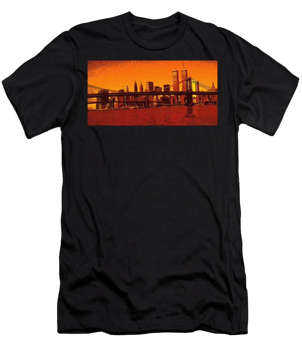 New+york+city Men's T-Shirt (Athletic Fit) featuring the digital art New York Downtown Manhattan Skyline Red by Peter Potter