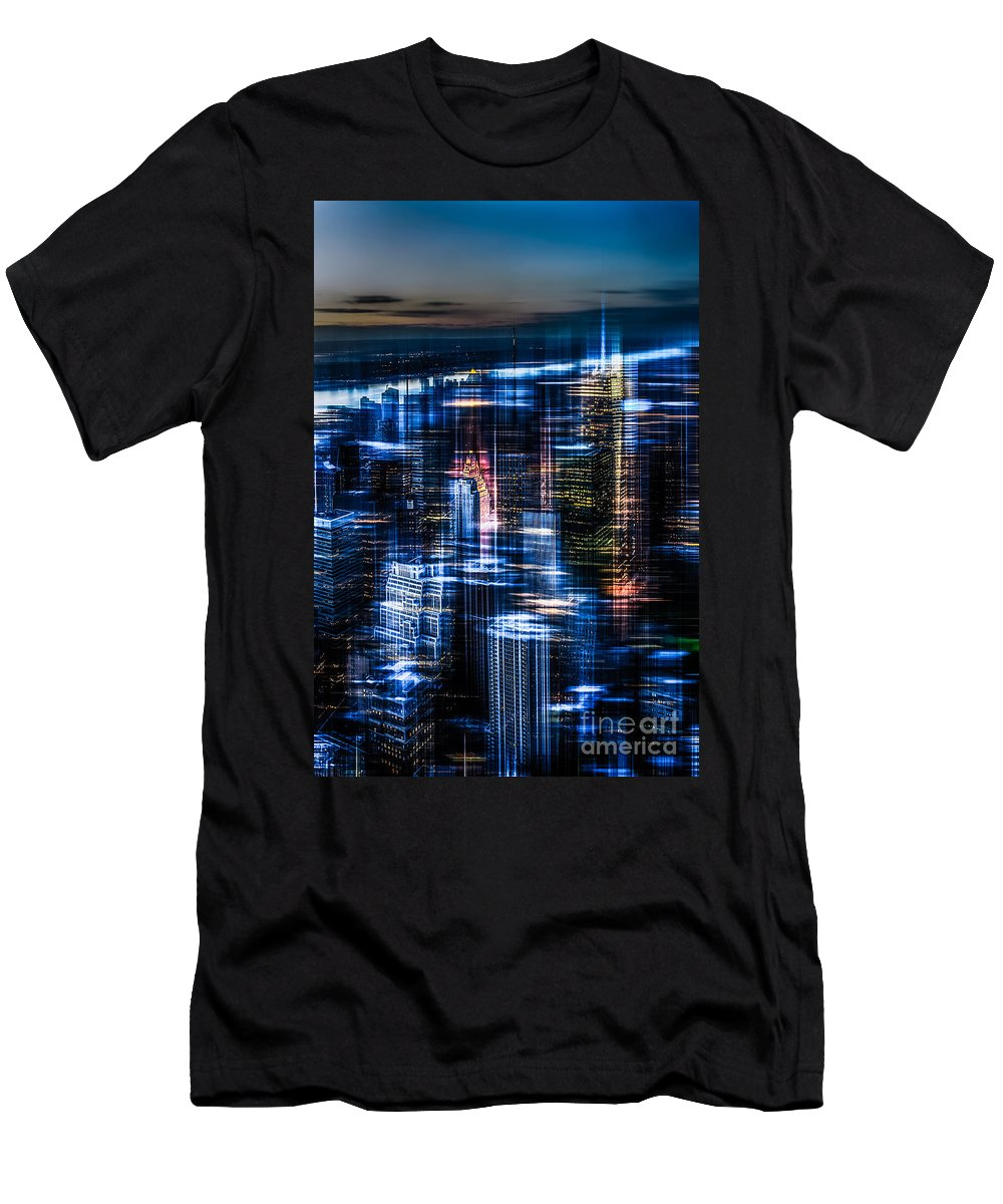 Nyc Men's T-Shirt (Athletic Fit) featuring the photograph New York - The Night Awakes - Blue I by Hannes Cmarits