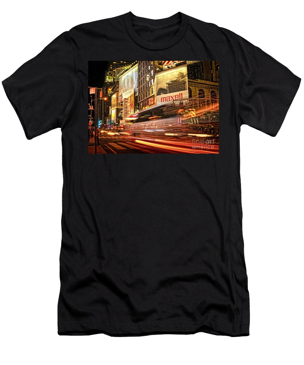 Slow Motion Men's T-Shirt (Athletic Fit) featuring the photograph New York Traffic by Claudia Kuhn