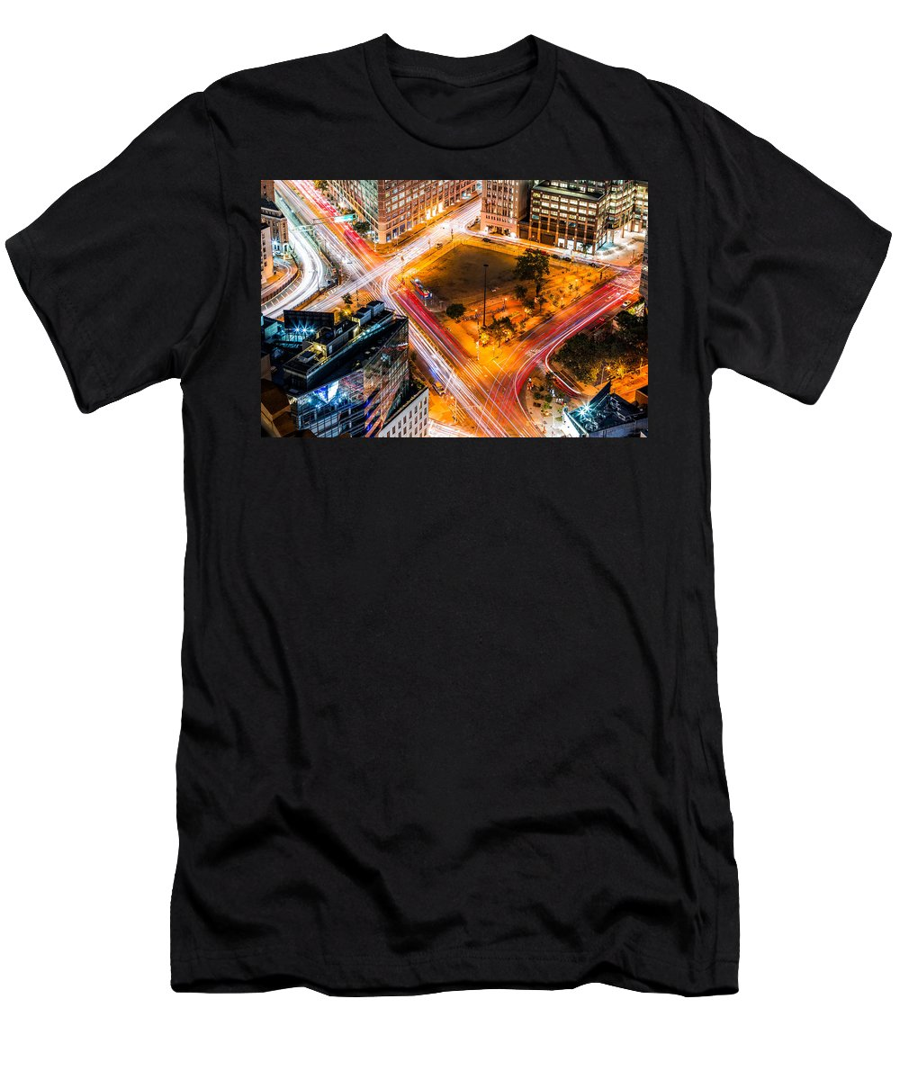Aerial Men's T-Shirt (Athletic Fit) featuring the photograph New York Traffic by Mihai Andritoiu