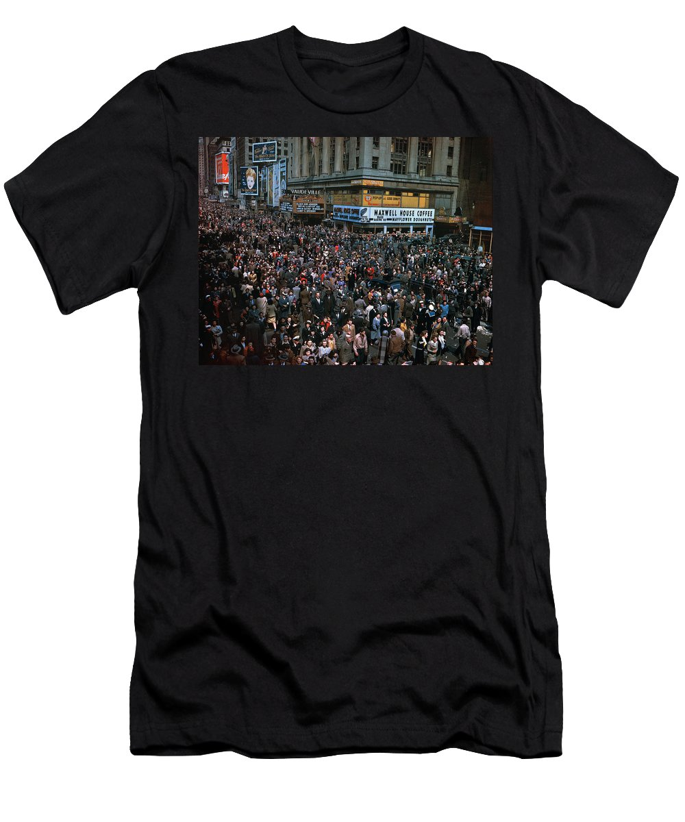1945 Men's T-Shirt (Athletic Fit) featuring the photograph New York: V-e Day, 1945 by Granger