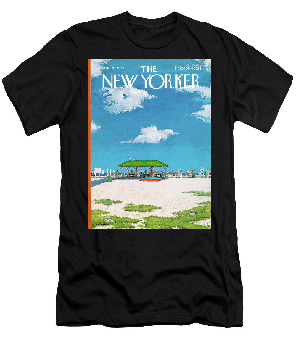 Summer Men's T-Shirt (Athletic Fit) featuring the painting New Yorker August 20th, 1973 by Albert Hubbell