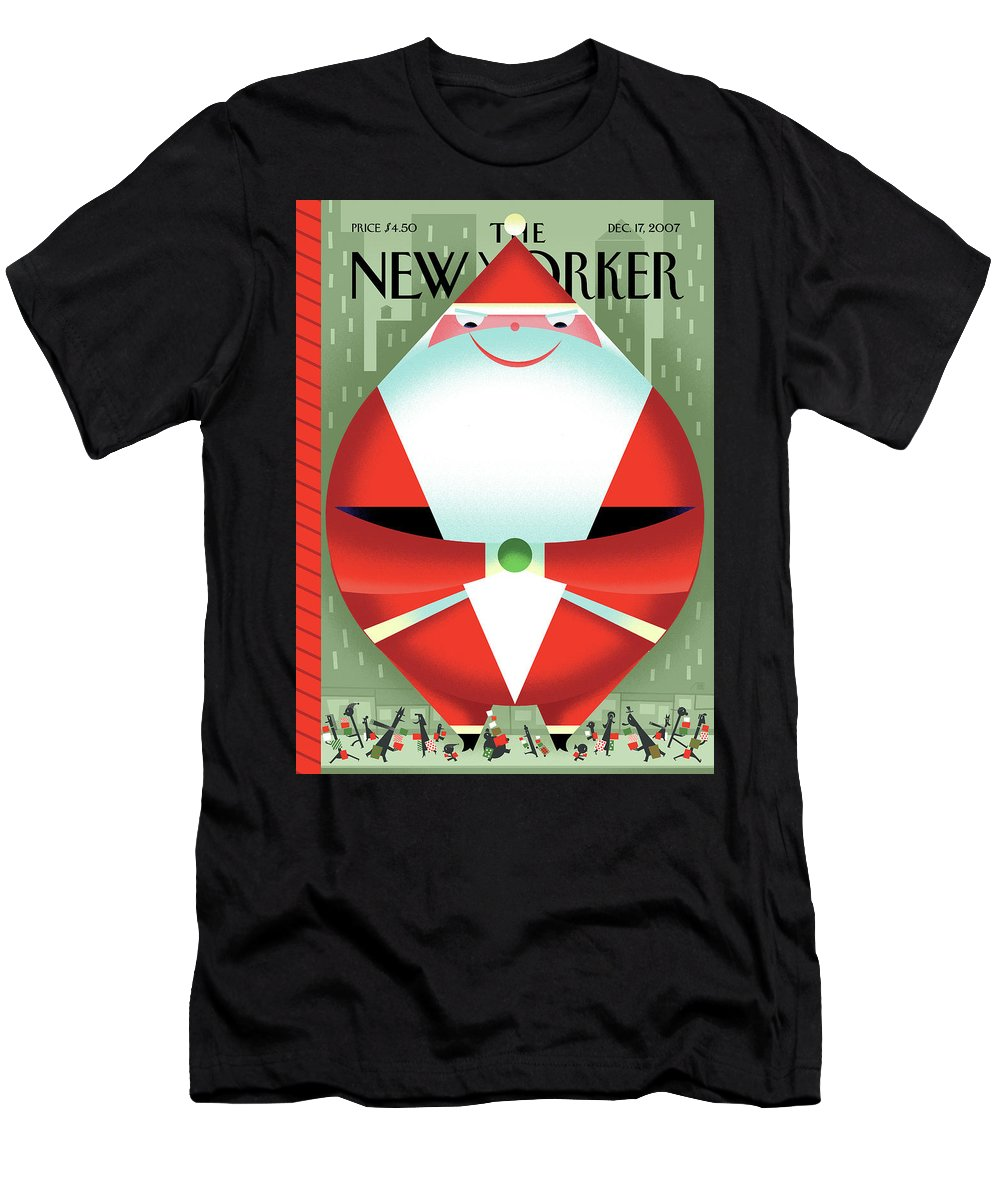 Santa Claus Men's T-Shirt (Athletic Fit) featuring the painting New Yorker December 17th, 2007 by Bob Staake