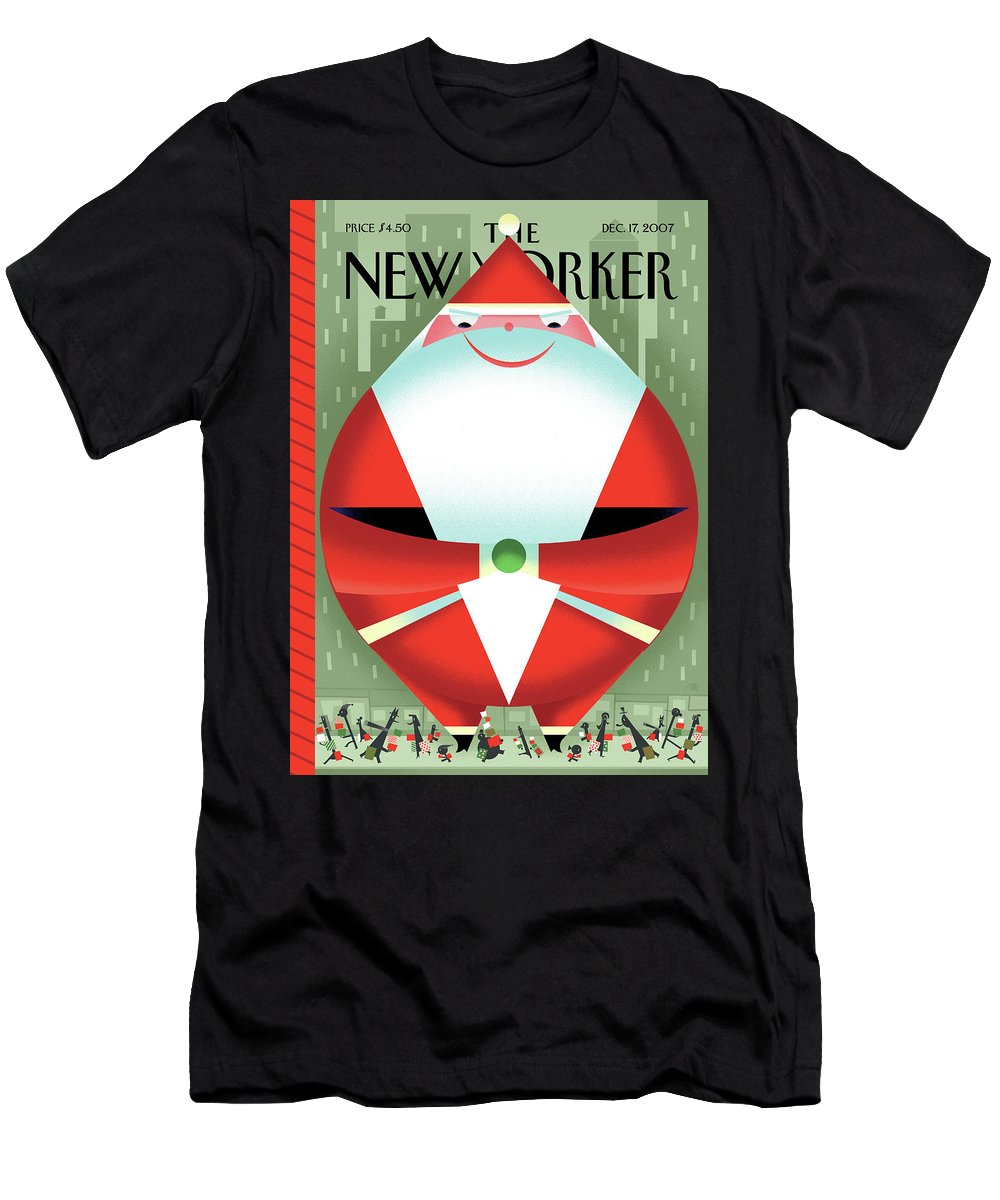 Santa Claus T-Shirt featuring the painting New Yorker December 17th, 2007 by Bob Staake
