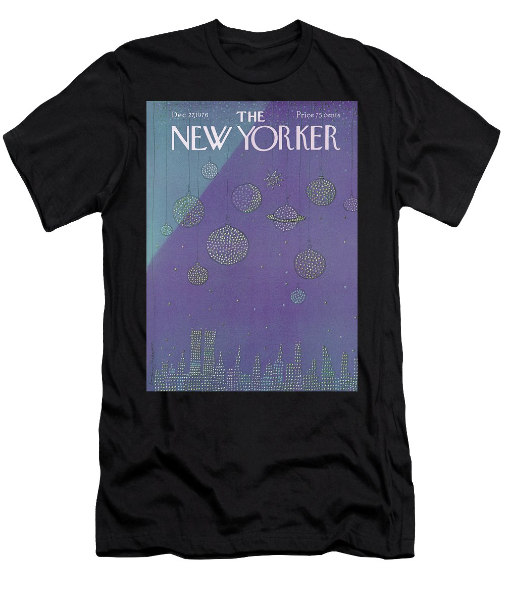 Planets Men's T-Shirt (Athletic Fit) featuring the painting New Yorker December 27th, 1976 by Eugene Mihaesco