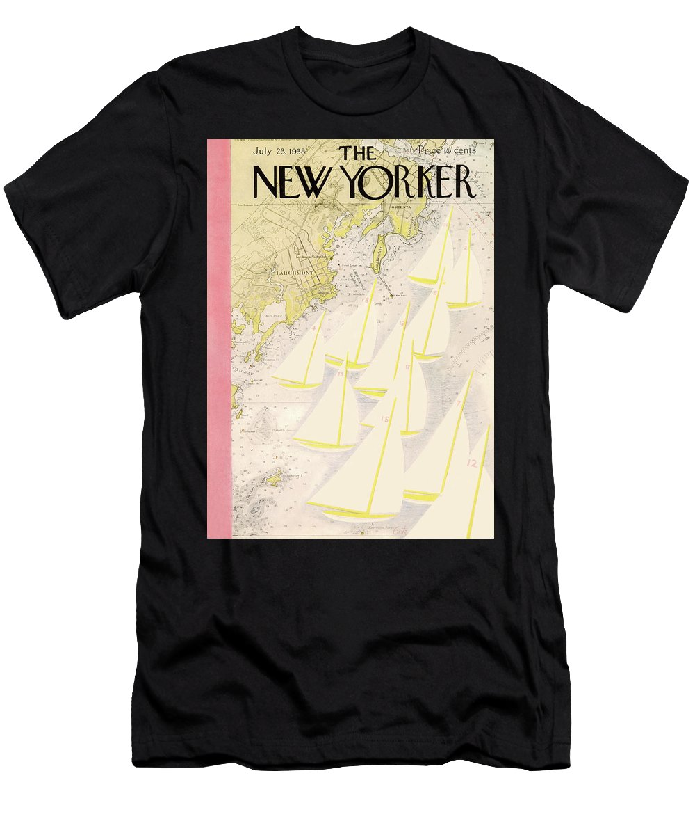 Illustration Men's T-Shirt (Athletic Fit) featuring the painting New Yorker July 23rd, 1938 by Arthur Getz