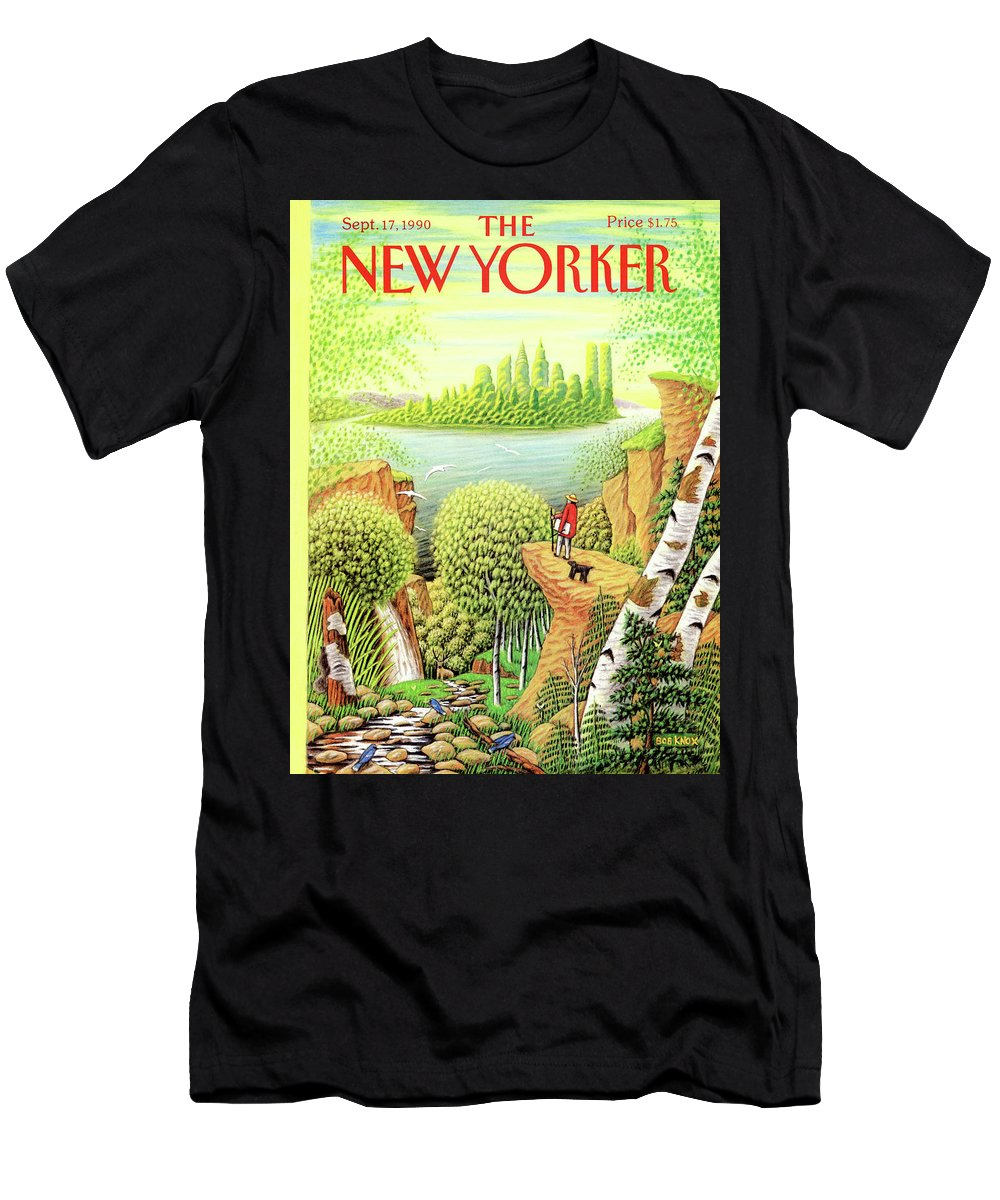 (a Man And His Dog Hike Through A Vast Landscape Of Woods Men's T-Shirt (Athletic Fit) featuring the painting Green New York by Bob Knox