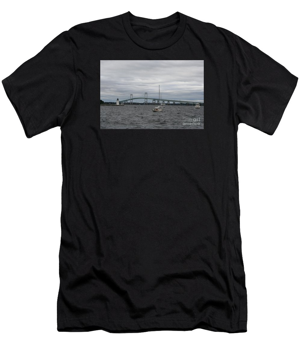 Bridge Men's T-Shirt (Athletic Fit) featuring the photograph Newport Bridge With Newport Harbor Light by Christiane Schulze Art And Photography