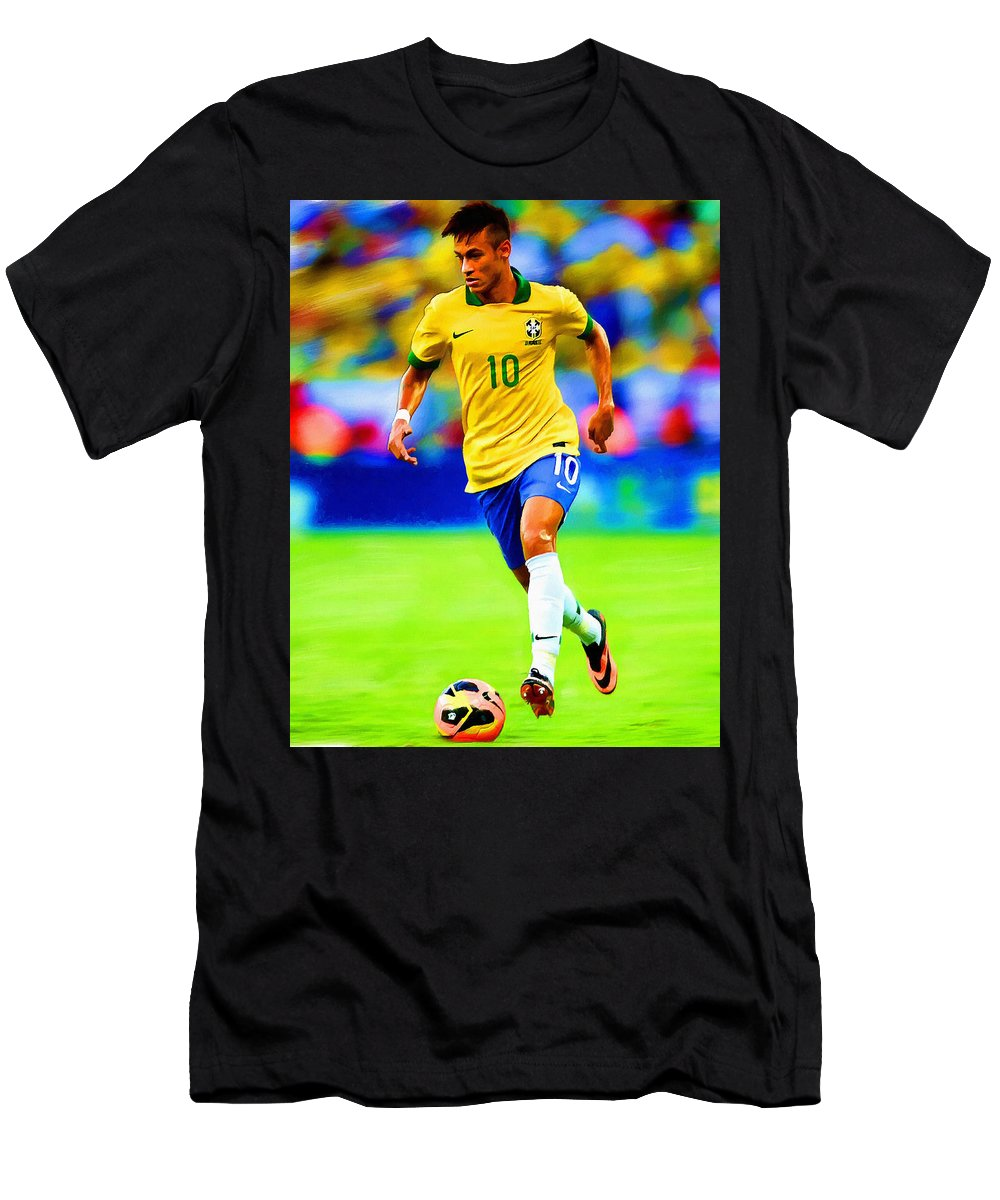 Neymar Men's T-Shirt (Athletic Fit) featuring the painting Neymar Soccer Football Art Portrait Painting by Andres Ramos