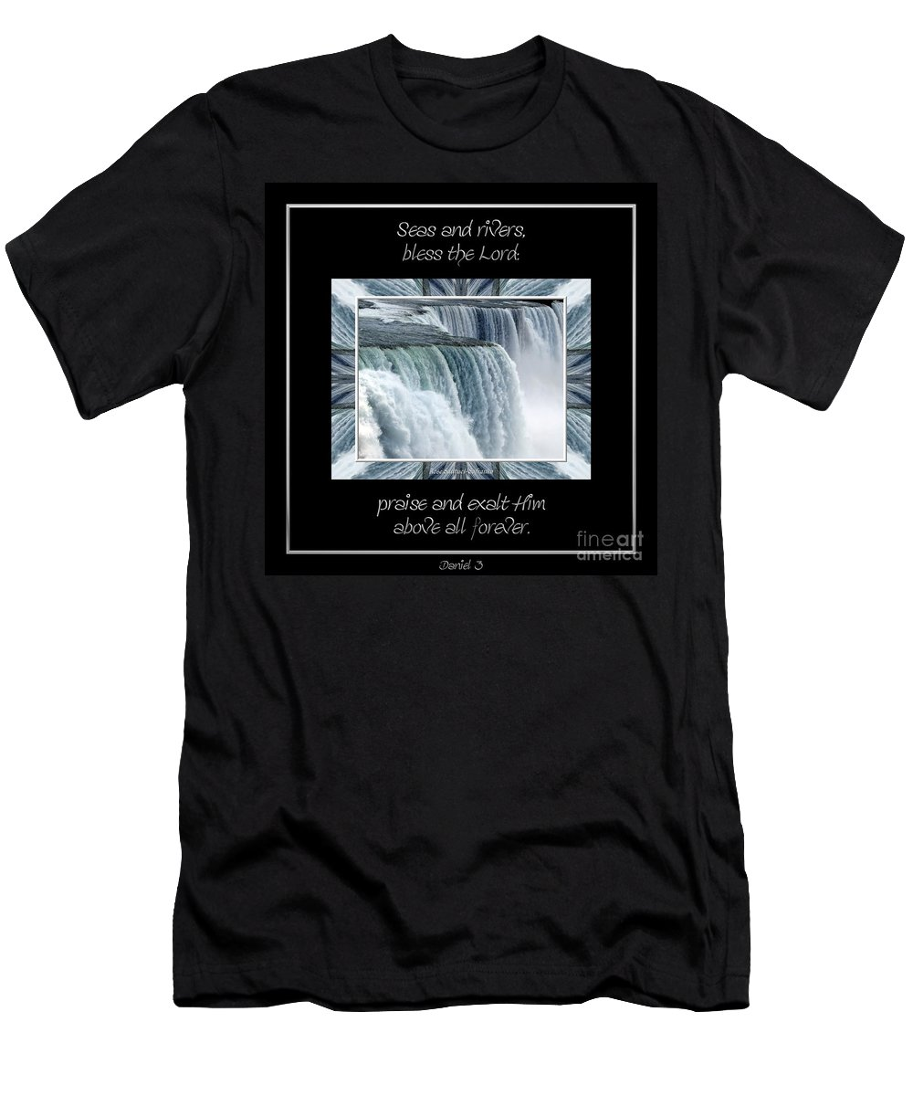 Seas And Rivers Bless The Lord Praise And Exalt Him Above All Forever Men's T-Shirt (Athletic Fit) featuring the photograph Niagara Falls Seas And Rivers Bless The Lord Praise And Exalt Him Above All Forever by Rose Santuci-Sofranko