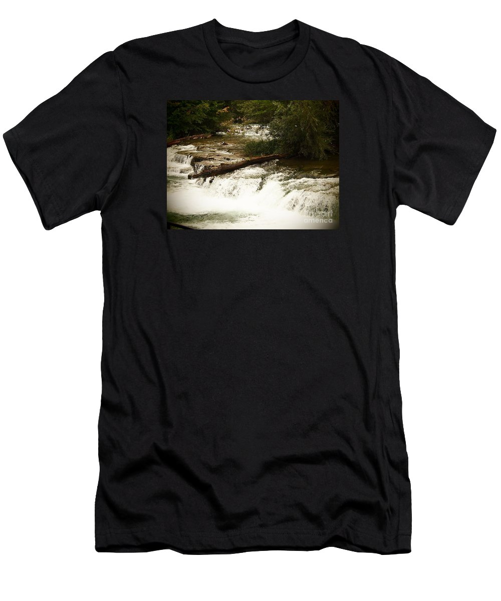 Niagra Falls Men's T-Shirt (Athletic Fit) featuring the photograph Niagra River Just Before The Falls by Jennifer Craft