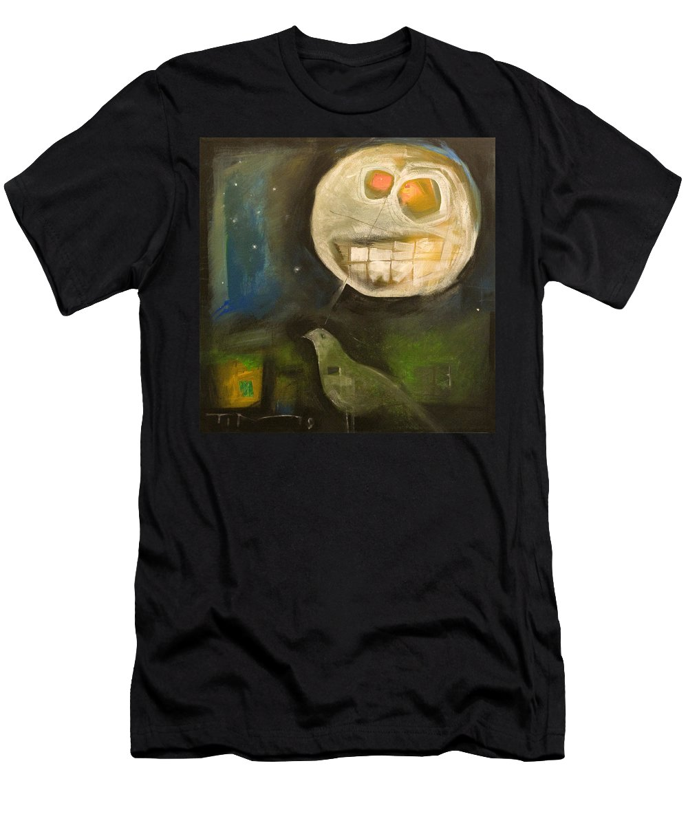 Moon Men's T-Shirt (Athletic Fit) featuring the painting Night Bird Harvest Moon by Tim Nyberg