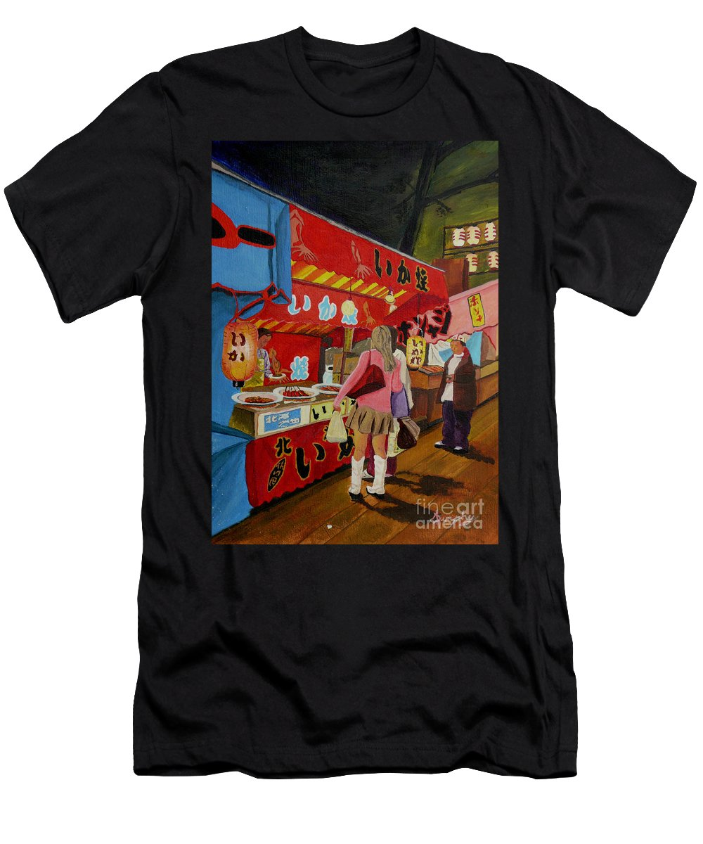 Japan Men's T-Shirt (Athletic Fit) featuring the painting Night Festival by Anthony Dunphy