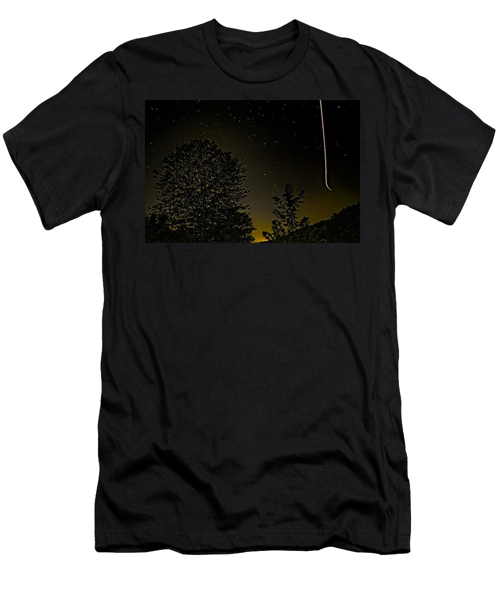 Night Sky Men's T-Shirt (Athletic Fit) featuring the photograph Night Flight by Steve Harrington