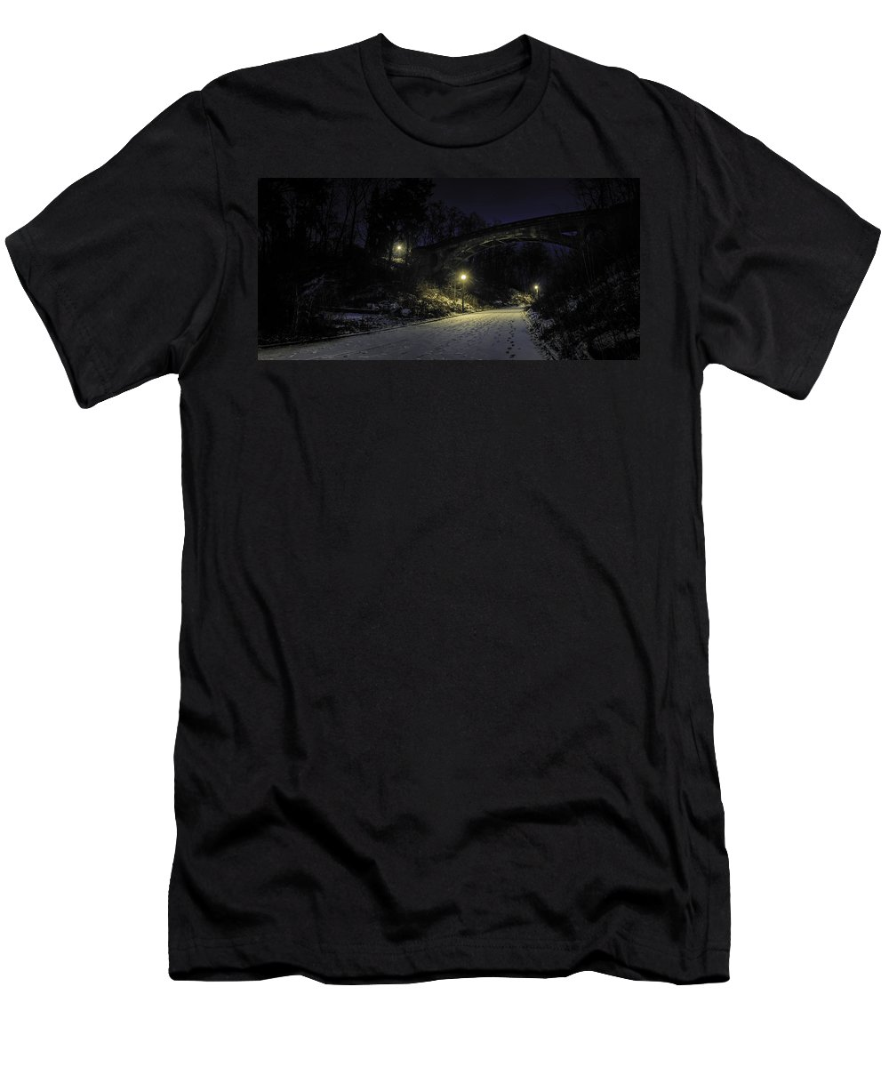 Night Men's T-Shirt (Athletic Fit) featuring the photograph Night Hushed The Shadowy Earth by Scott Norris