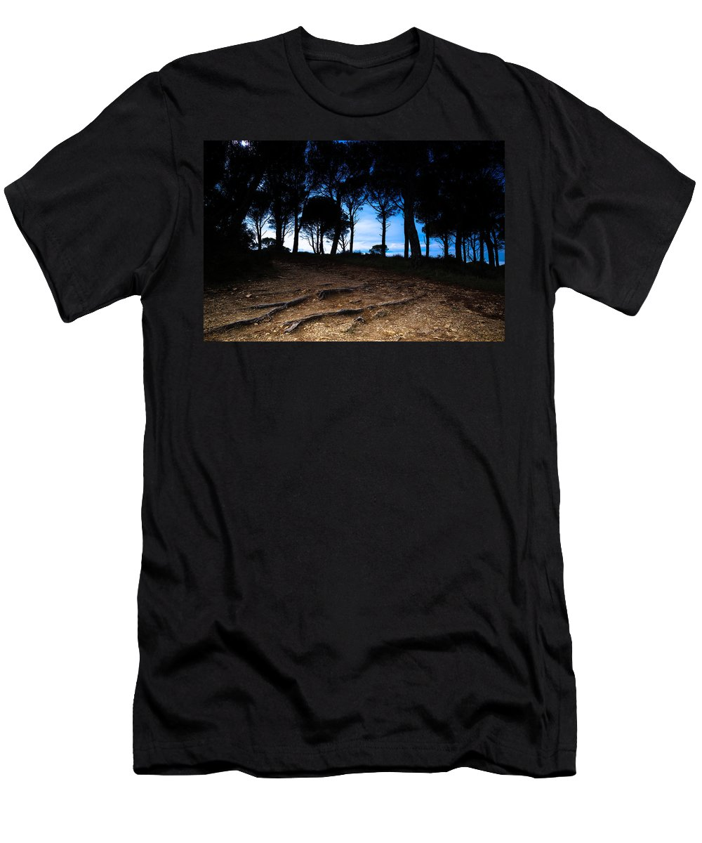 Forest Men's T-Shirt (Athletic Fit) featuring the photograph Night In The Forest by Edgar Laureano