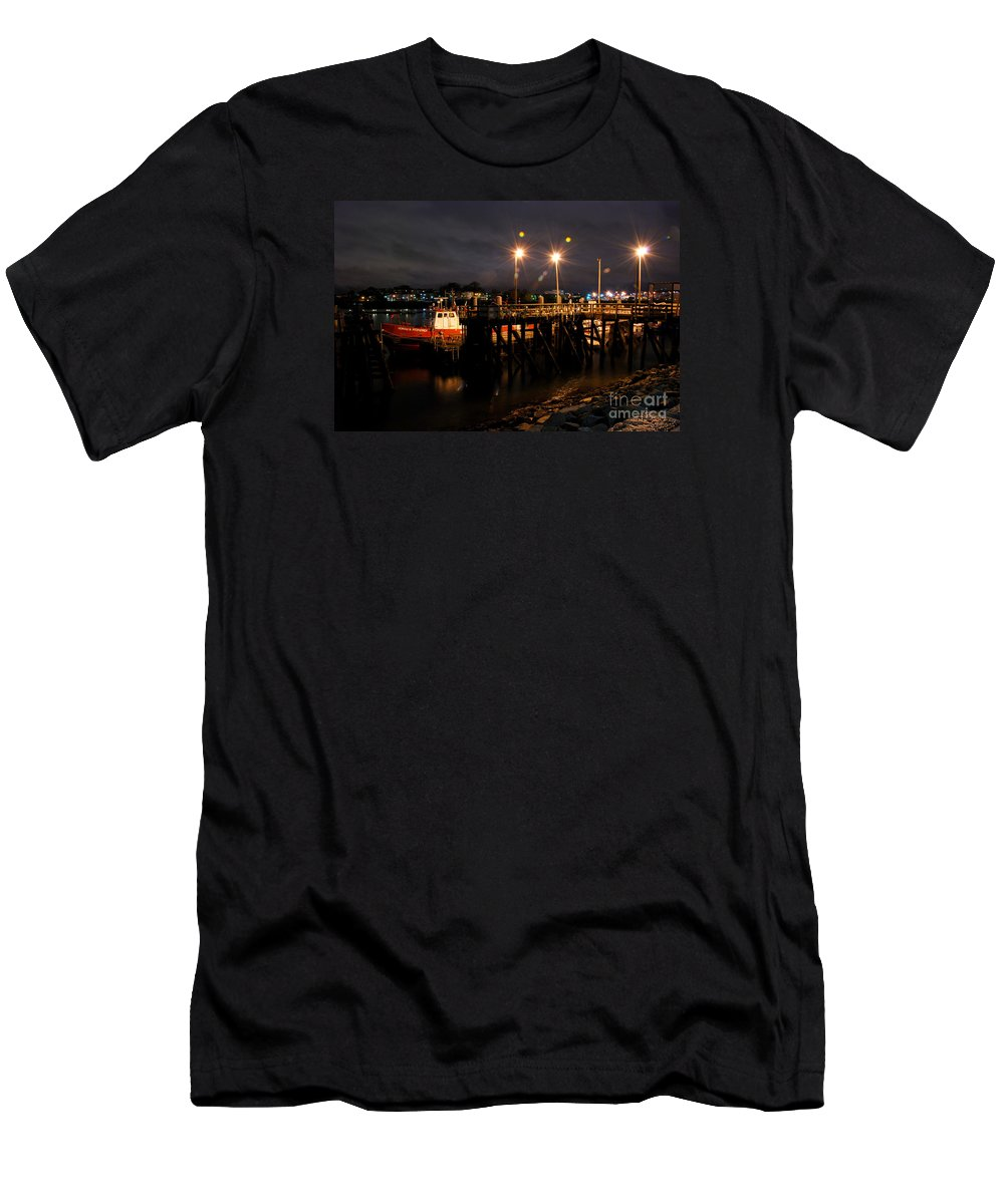 Night Pier Boston Harbour Harbor Trawler Fishing Boat Jetty Men's T-Shirt (Athletic Fit) featuring the photograph Night Pier by Richard Gibb