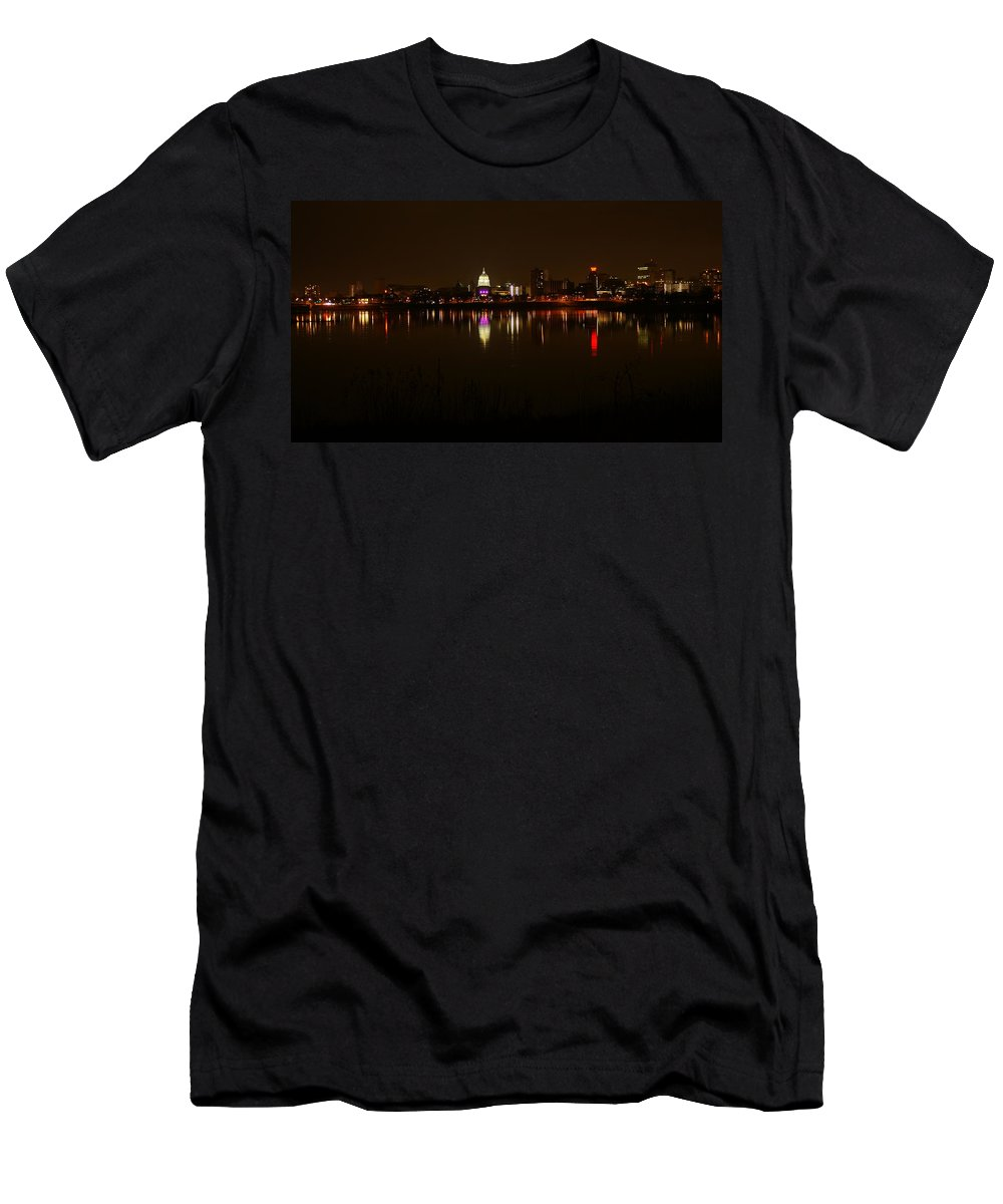 Harrisburg Men's T-Shirt (Athletic Fit) featuring the photograph Night Skyline Harrisburg Pa Pink Lights by Rob Luzier