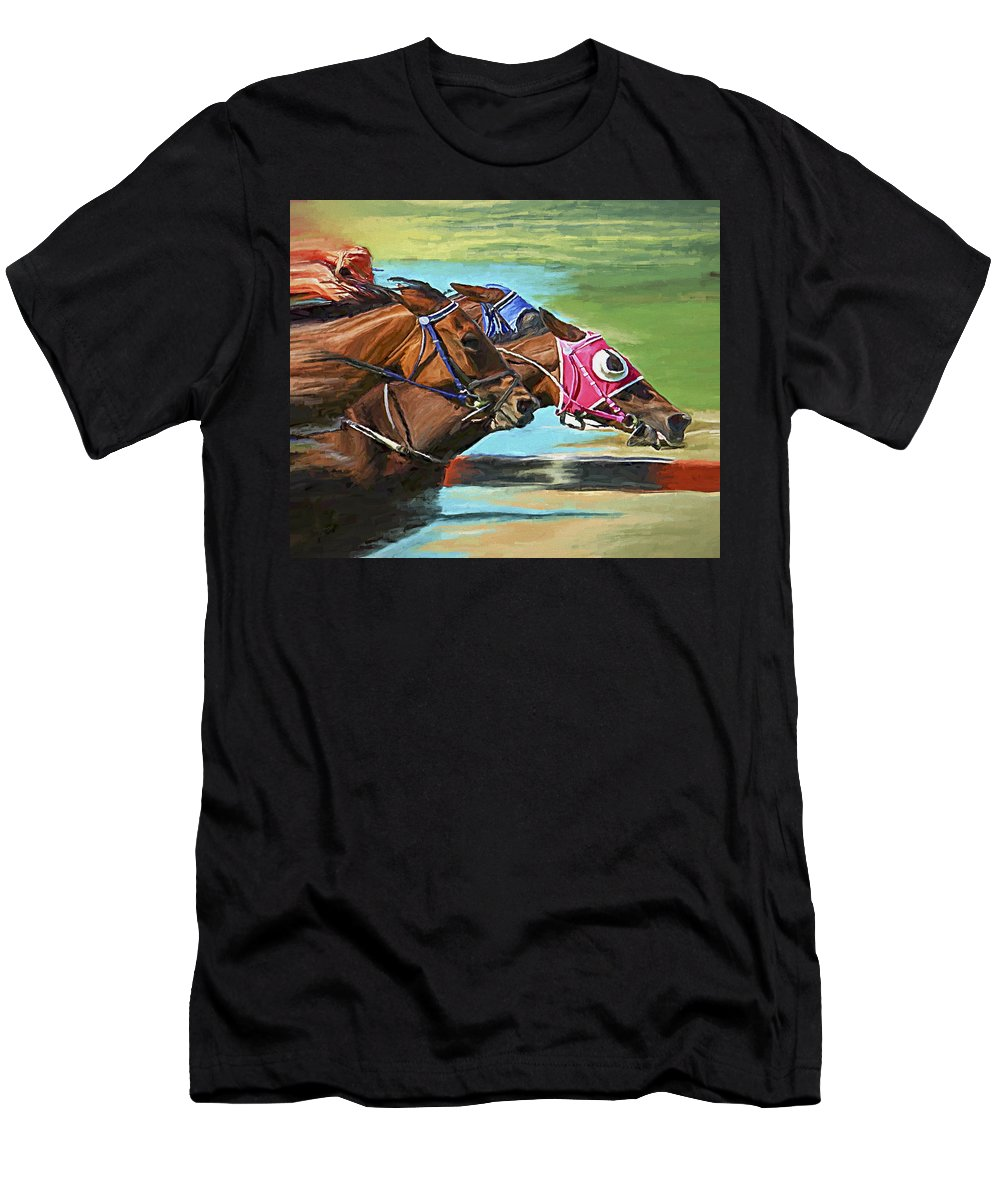 Horses Men's T-Shirt (Athletic Fit) featuring the painting Nikita By A Head by David Wagner