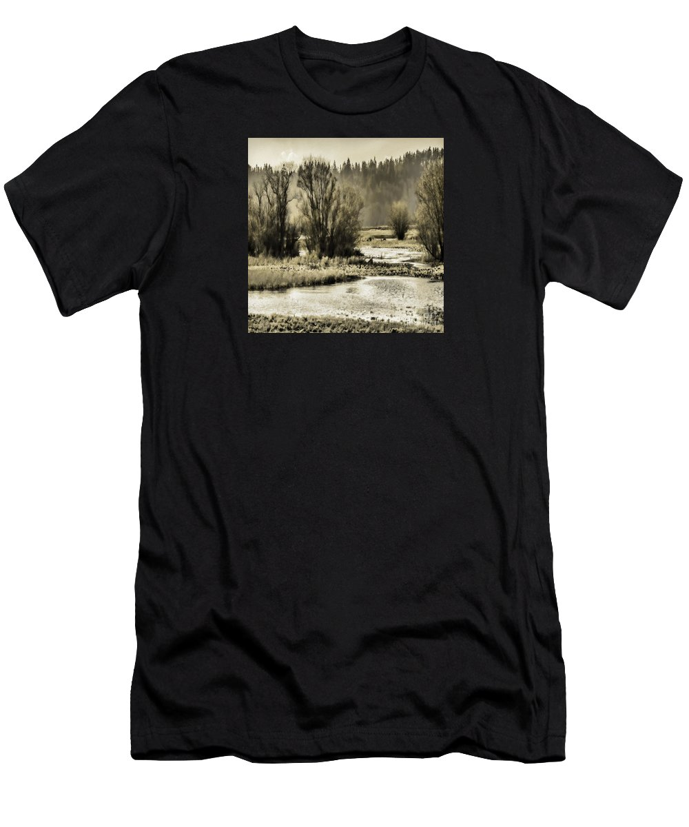 Nisqually Men's T-Shirt (Athletic Fit) featuring the photograph Nisqually Tide Pools by Jean OKeeffe Macro Abundance Art