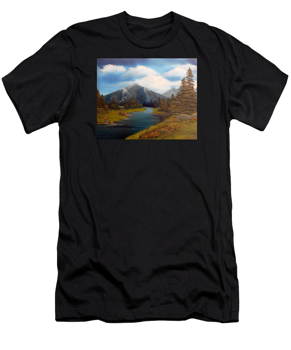 Mountain Men's T-Shirt (Athletic Fit) featuring the painting No Electronics Here by Sheri Keith