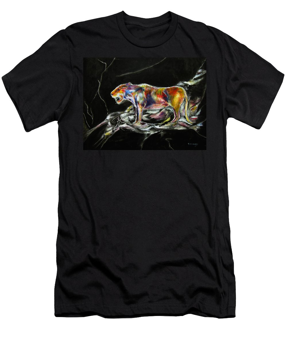 Animals Men's T-Shirt (Athletic Fit) featuring the painting No Fear by Tom Conway
