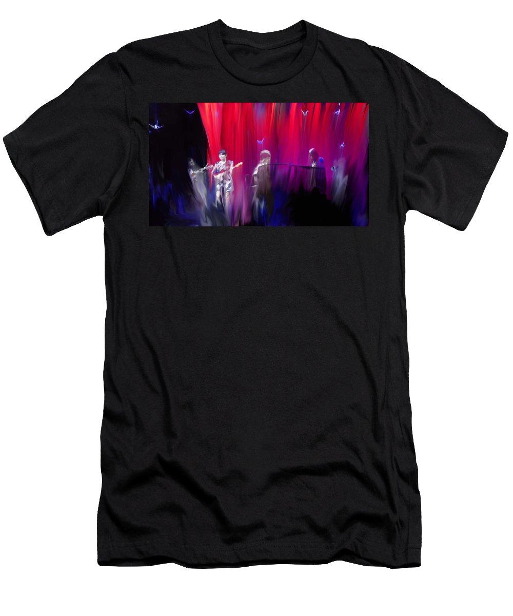 Norah Jones On Stage Men's T-Shirt (Athletic Fit) featuring the painting Norah Jones On Stage by Usha Shantharam