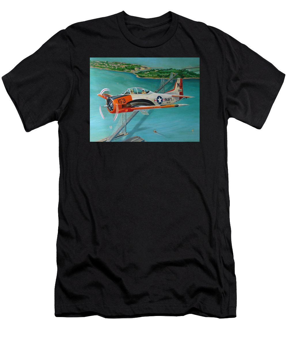 Aviation Men's T-Shirt (Athletic Fit) featuring the painting North American T-28 Trainer by Stuart Swartz