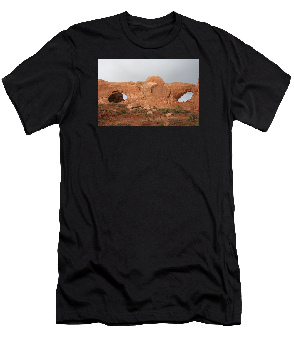 Window Men's T-Shirt (Athletic Fit) featuring the photograph North And South Window Arches Np by Christiane Schulze Art And Photography