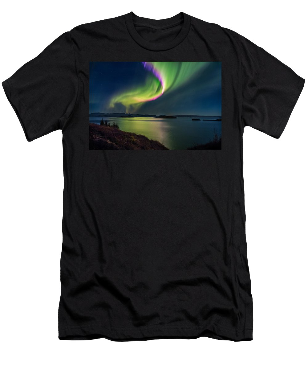 Photography Men's T-Shirt (Athletic Fit) featuring the photograph Northern Lights Over Thingvallavatn Or by Panoramic Images