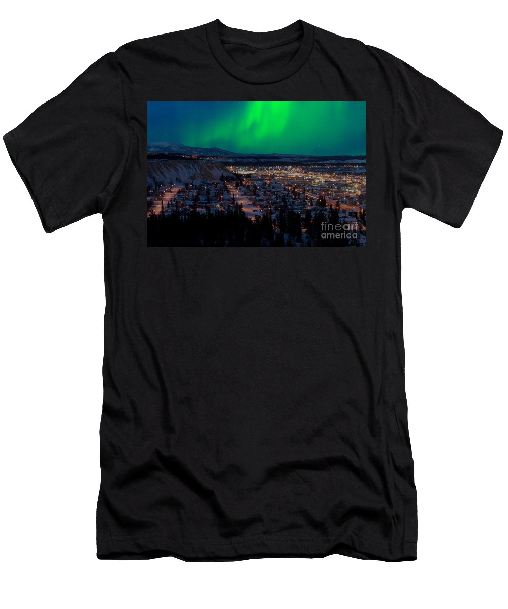 Canada Men's T-Shirt (Athletic Fit) featuring the photograph Northern Lights Over Whitehorse by Stephan Pietzko