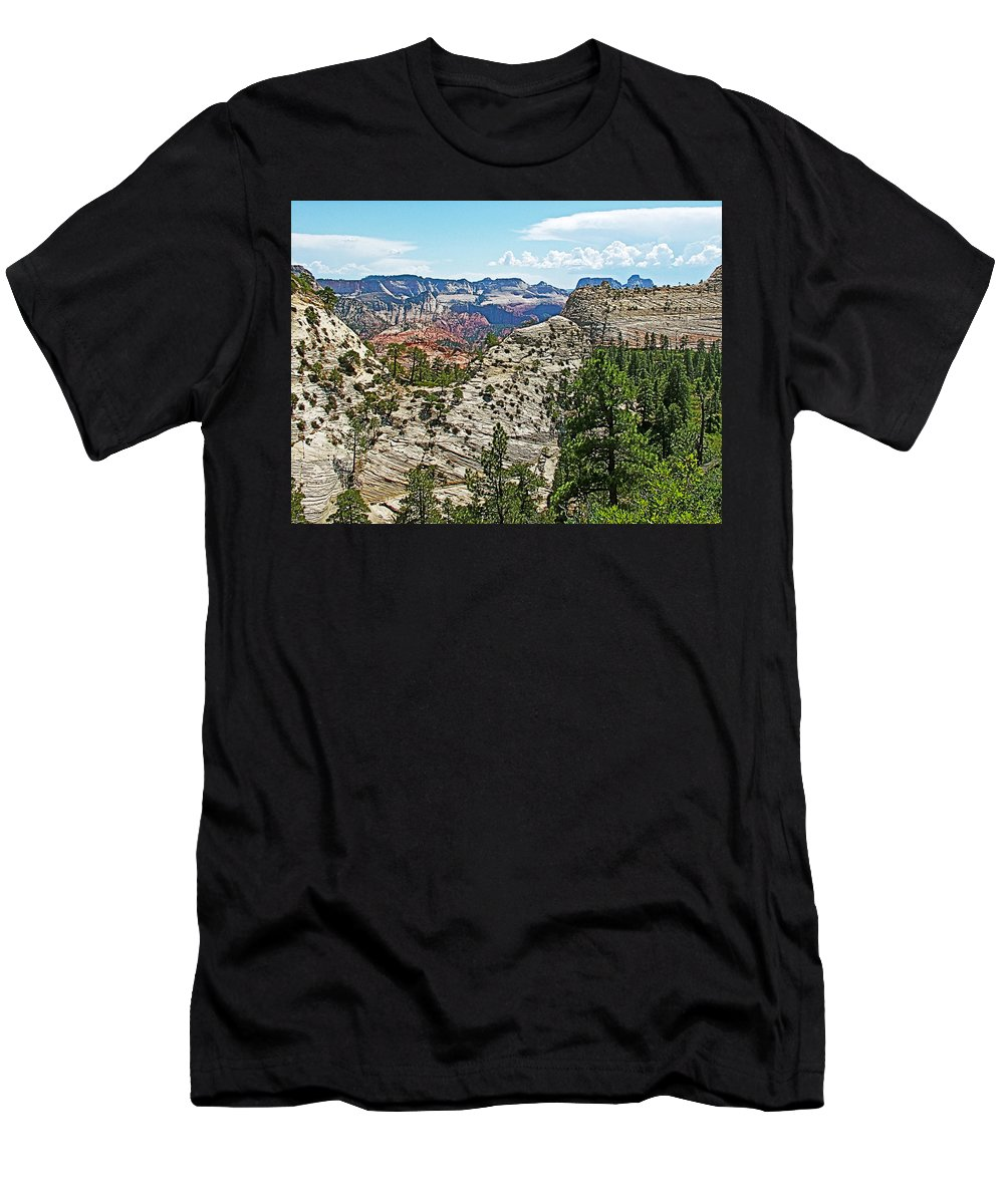 Northgate Peaks Trail From Kolob Terrace Road In Zion National Park Men's T-Shirt (Athletic Fit) featuring the photograph Northgate Peaks Trail From Kolob Terrace Road In Zion National Park-utah by Ruth Hager