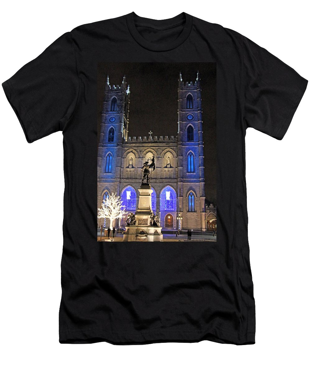 Notre-dame Men's T-Shirt (Athletic Fit) featuring the photograph Notre-dame Basilica Of Montreal by Munir Alawi