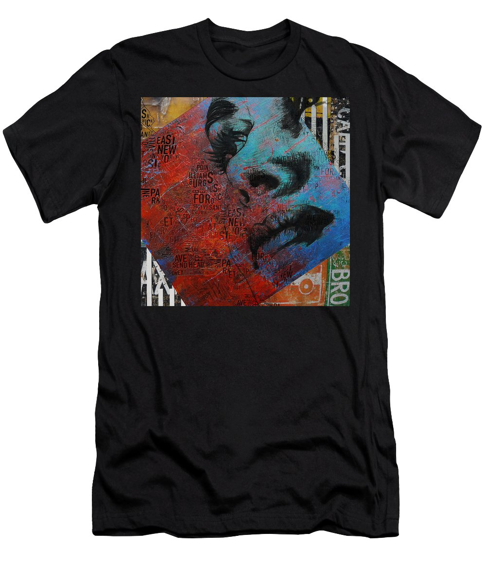 New York City Men's T-Shirt (Athletic Fit) featuring the painting Ny City Collage - 8 by Corporate Art Task Force