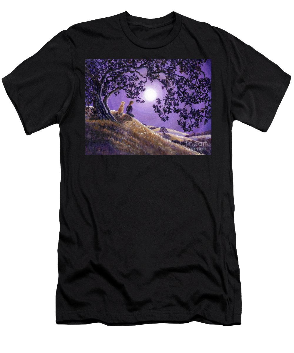 Zen Men's T-Shirt (Athletic Fit) featuring the painting Oak Tree Meditation by Laura Iverson
