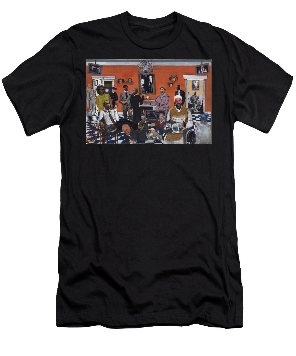 Obama Men's T-Shirt (Athletic Fit) featuring the mixed media Obama Nation by Reginald Williams