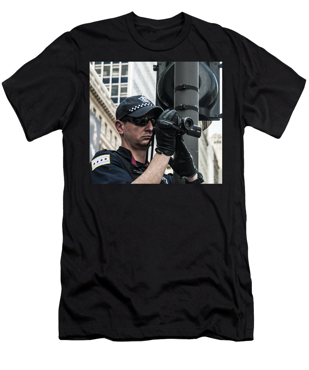 Occupy Men's T-Shirt (Athletic Fit) featuring the photograph Occupy Chicago Viii by Roger Lapinski