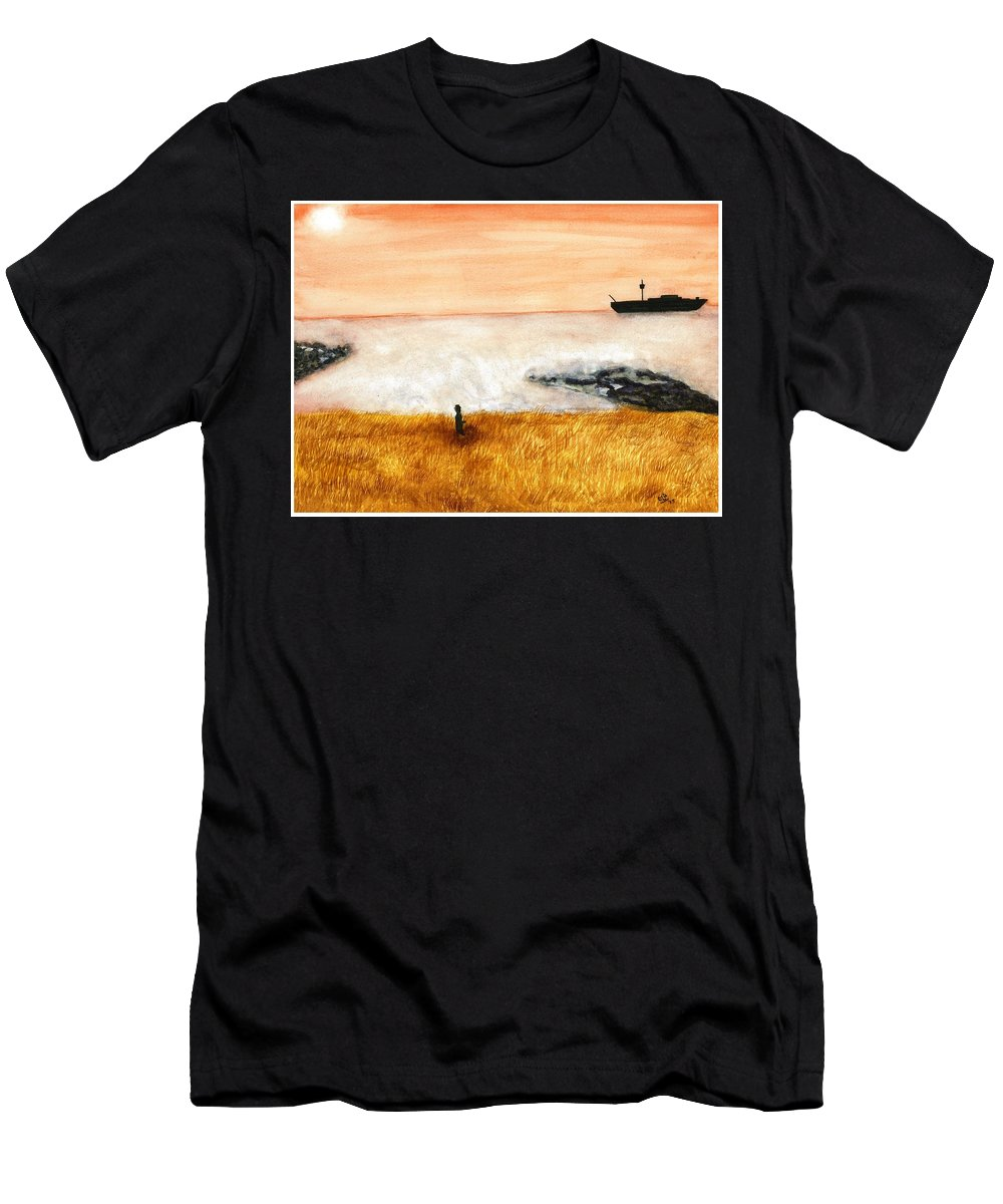Ocean Men's T-Shirt (Athletic Fit) featuring the painting Ocean Mist 3 by David Bartsch