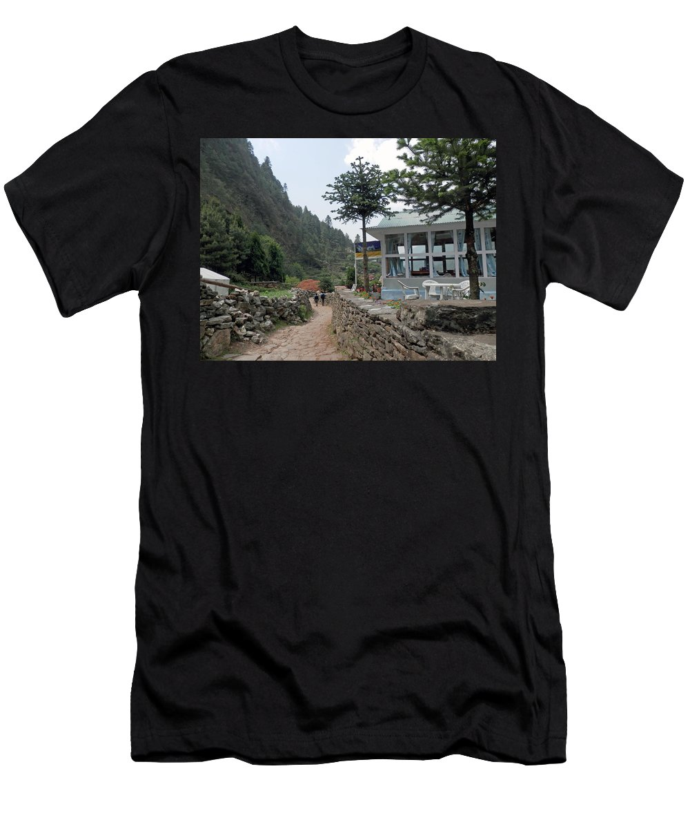 Scenery Men's T-Shirt (Athletic Fit) featuring the photograph Off To School by Pema Hou