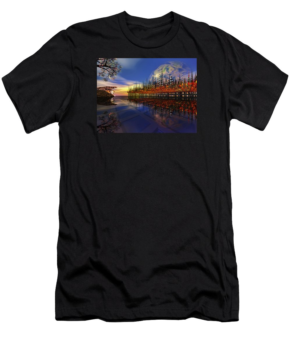 Off World Men's T-Shirt (Athletic Fit) featuring the digital art Off World 2 by Mary Almond