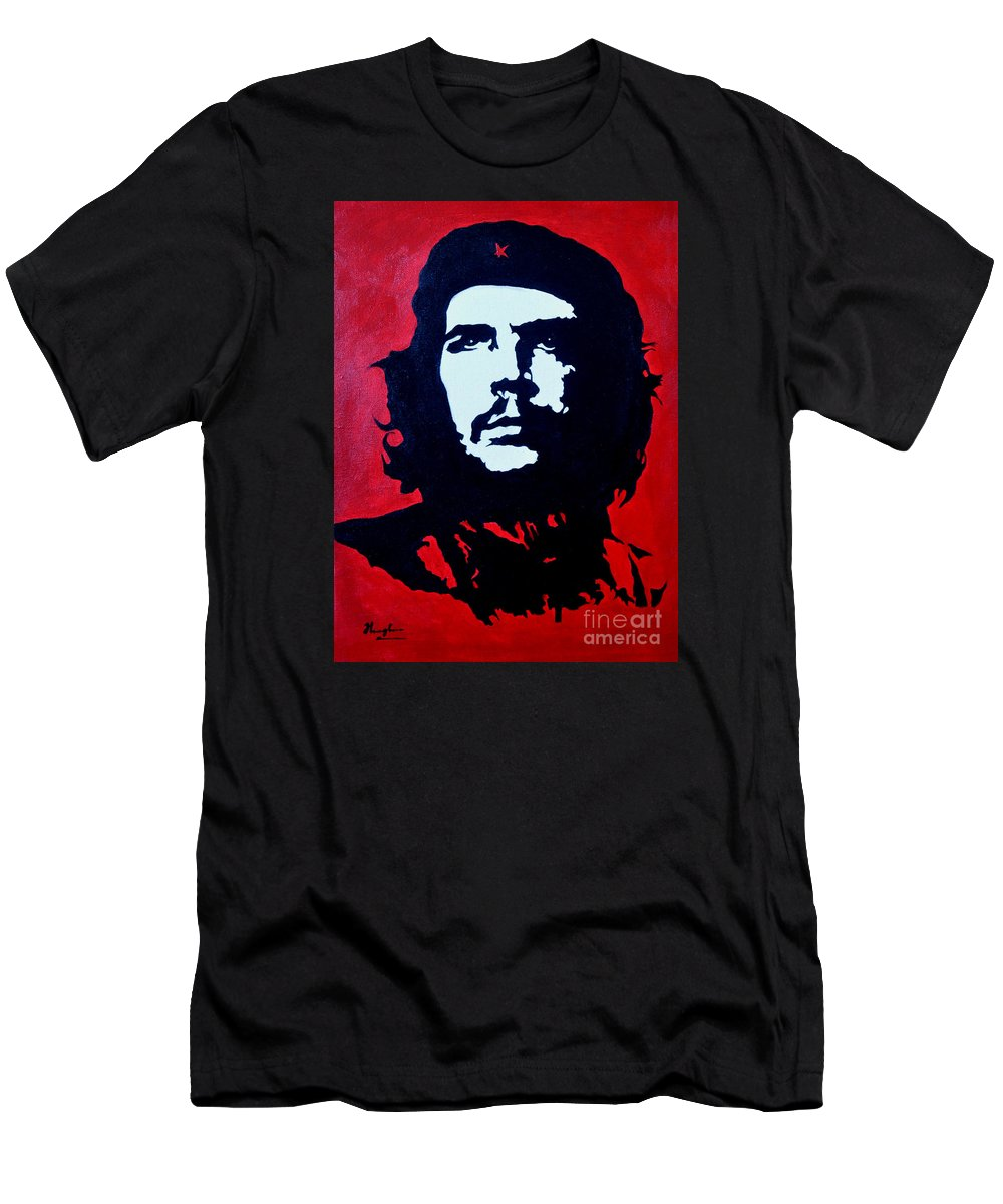 Oil Painting Men's T-Shirt (Athletic Fit) featuring the painting Original Oil Painting Art -ernesto Guevara#16-2-5-30 by Hongtao   Huang