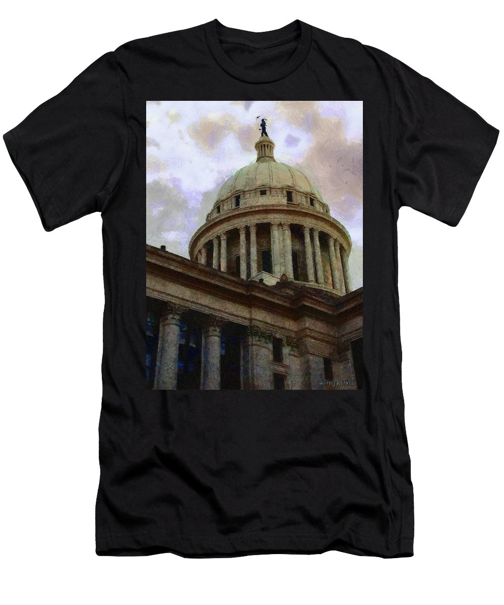 Architecture Men's T-Shirt (Athletic Fit) featuring the painting Oklahoma Capital by Jeffrey Kolker