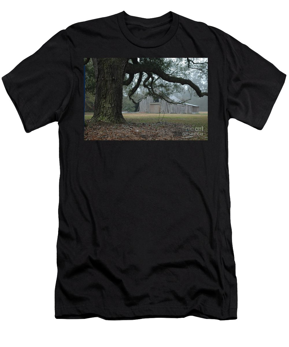 Fog Men's T-Shirt (Athletic Fit) featuring the photograph Old Barn In Fog by Xyldia Grace
