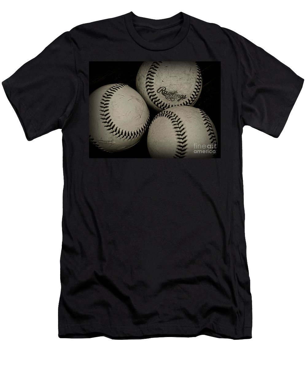 Paul Ward Men's T-Shirt (Athletic Fit) featuring the photograph Old Baseballs by Paul Ward
