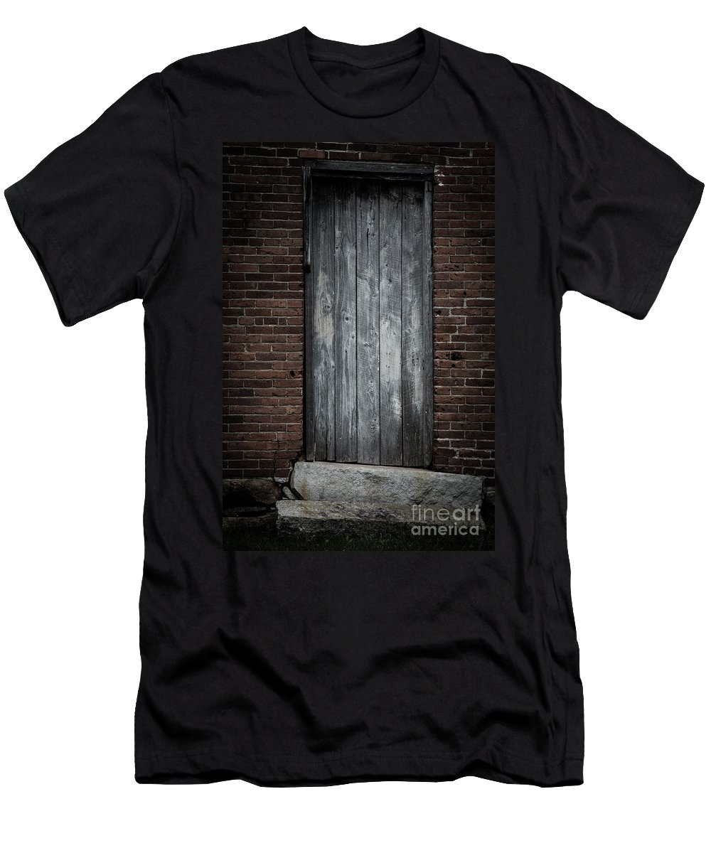 Door Men's T-Shirt (Athletic Fit) featuring the photograph Old Blacksmith Shop Door by Edward Fielding